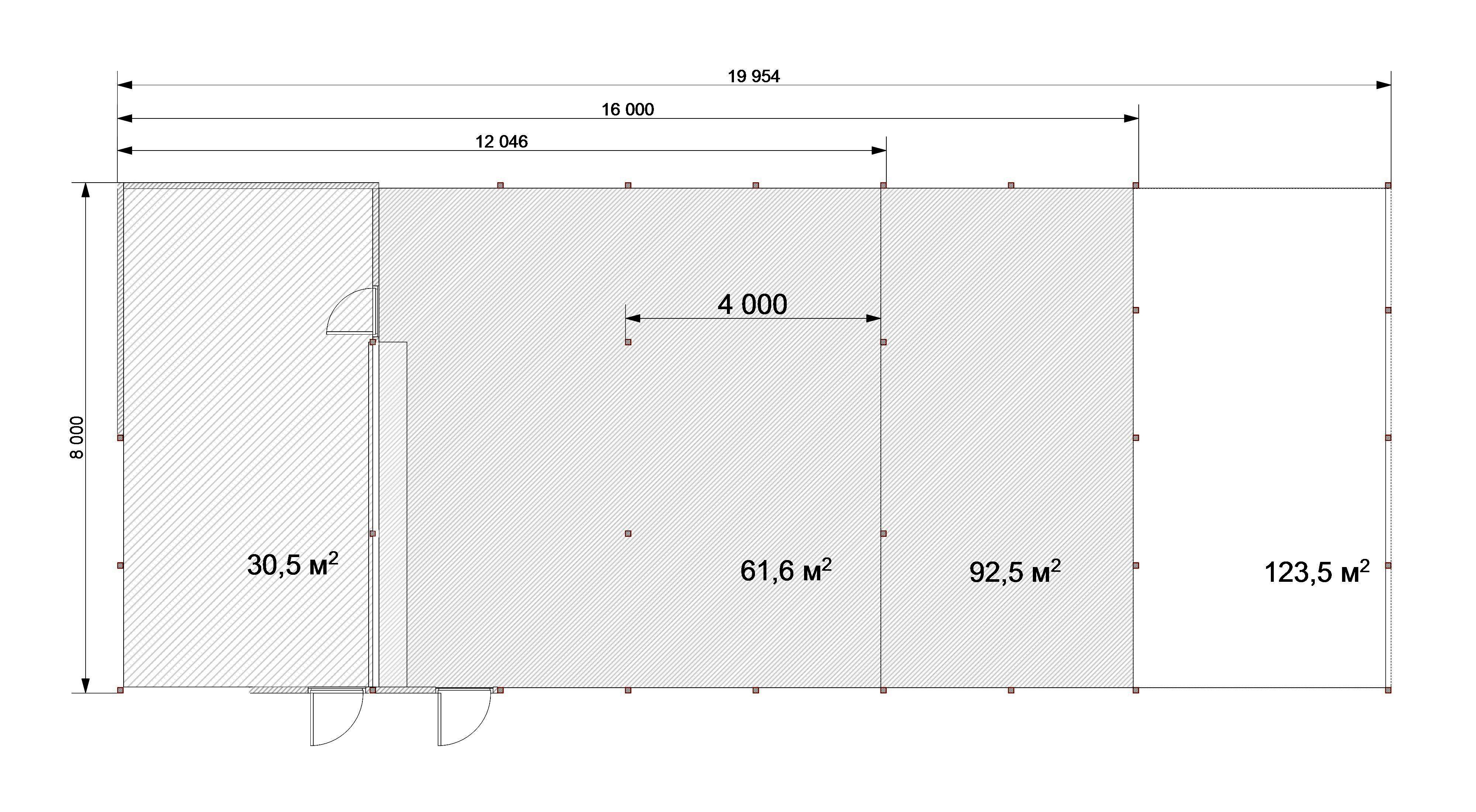 План помещений павильон 8х16