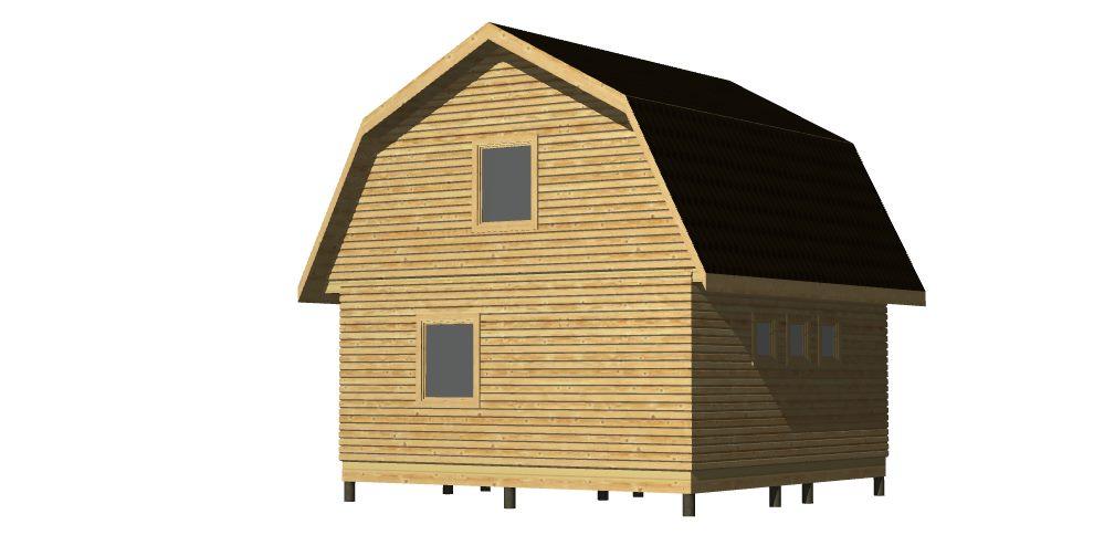 Общий вид 2 397 Дом 6х6 с террасой