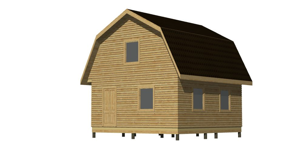 Общий вид 397 Дом 6х6 с террасой