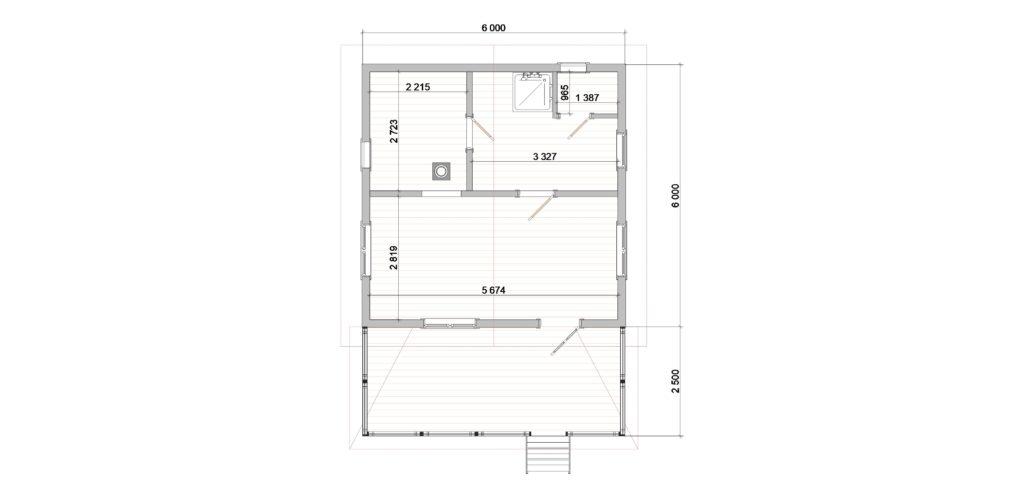 План новый. 392 Баня 6х6 с террасой (Нижняя Колония)