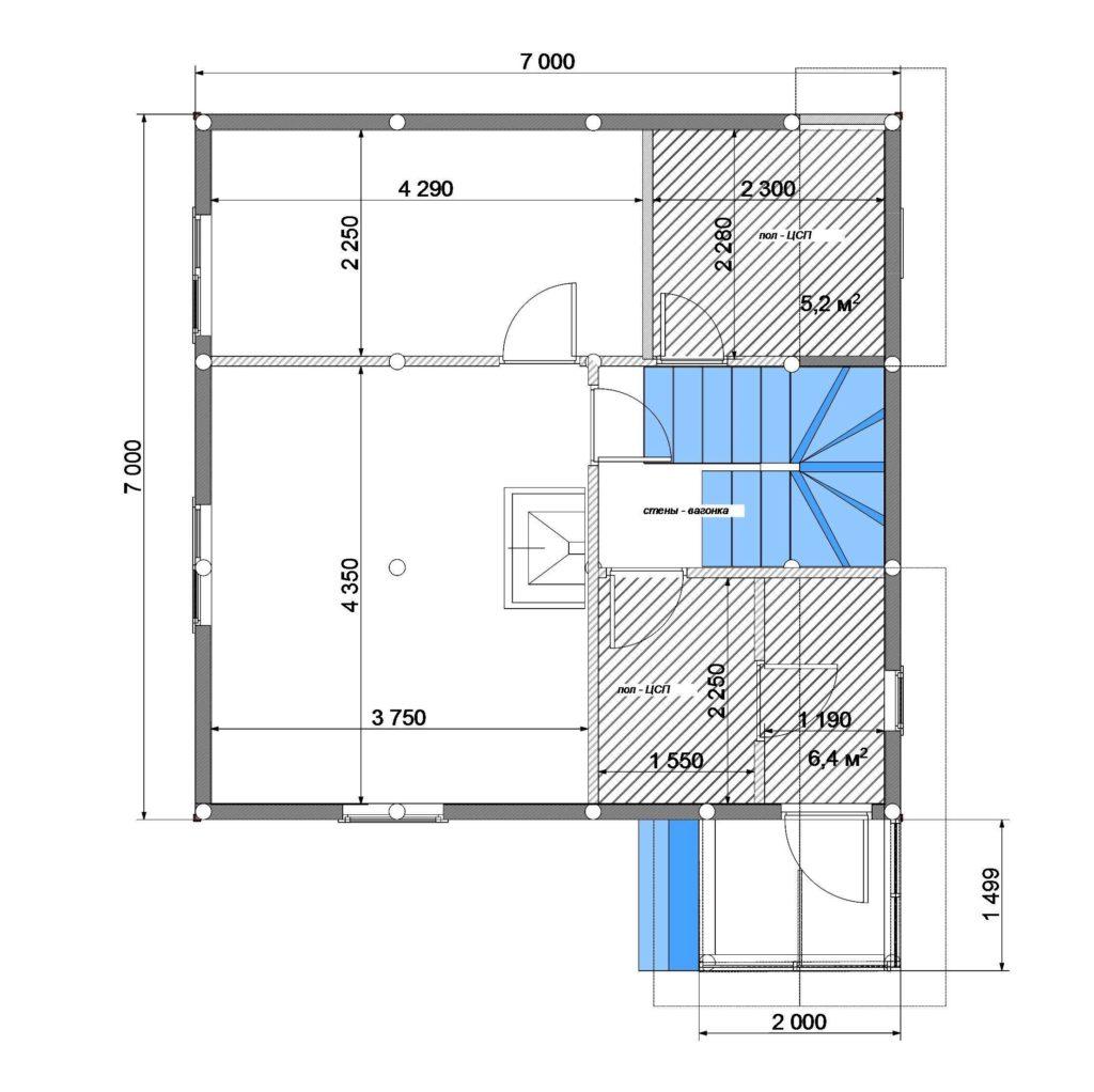 План помещений 7х7 1 этаж Заказ 330