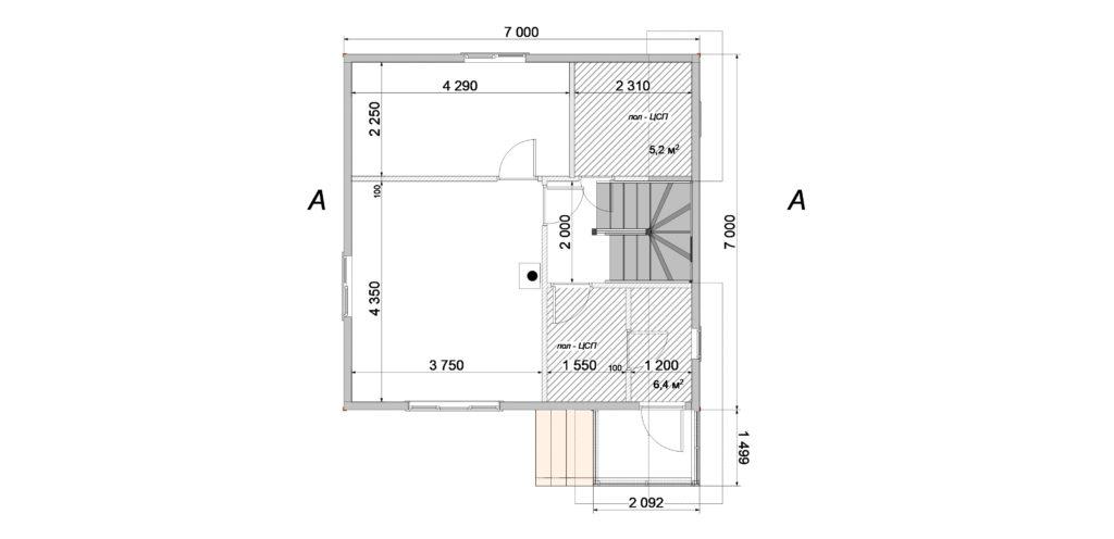 План помещений 7х7 1 этаж Заказ 403