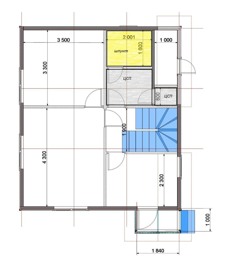 План помещений 7х8 1 этаж Заказ 329