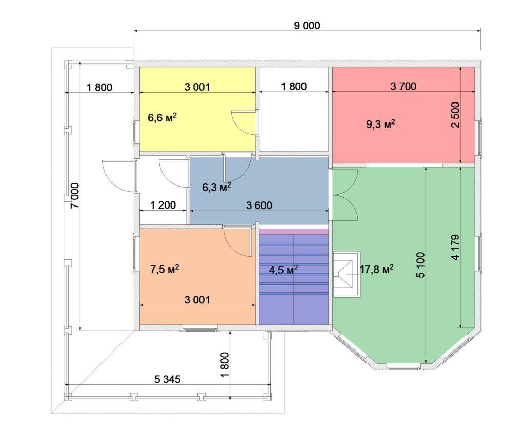 План 1 этаж 7х9 1,5 эт с эркером и террасой