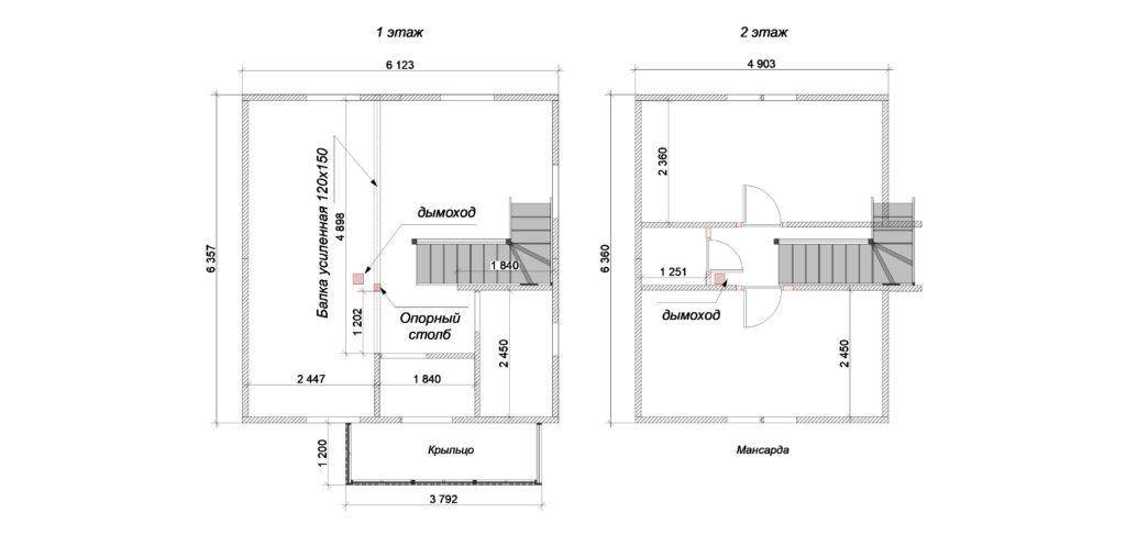 План 1-2 этаж 6х6 с мансардой