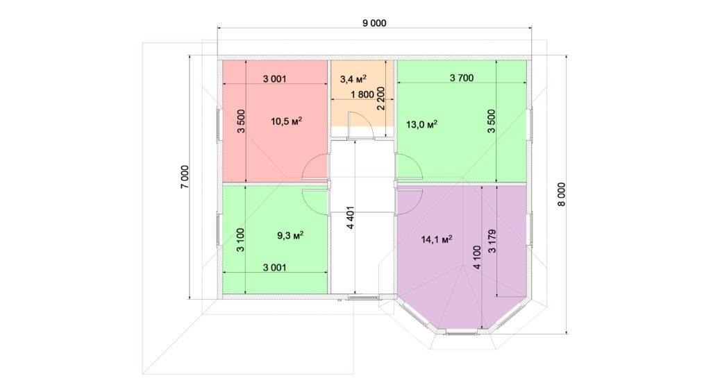 План 2 этаж 7х9 1,5 эт с эркером и террасой