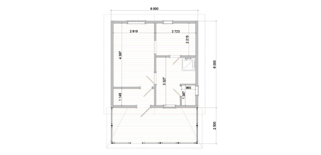 План. 392 Баня 6х6 с террасой (Нижняя Колония)