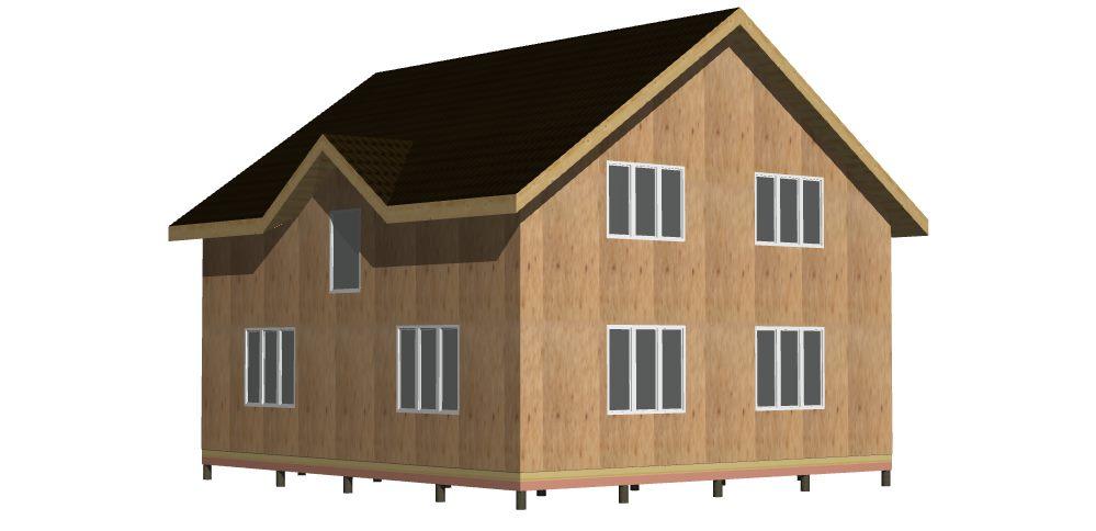 398 Дом 9х10 1,5 этажа с балконом. Вид 2