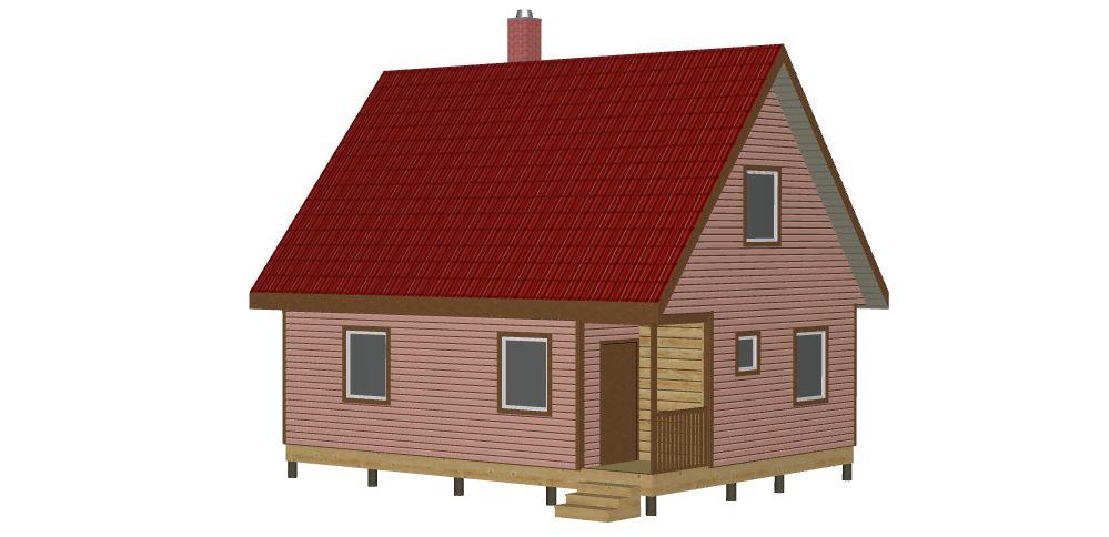 404 Дом 6х8 с мансардой (Лопухинка) - Вид 1