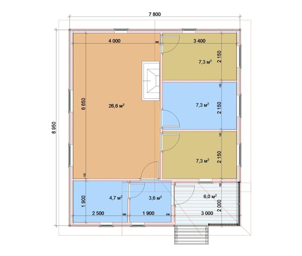 8х9 1 этаж с крыльцом